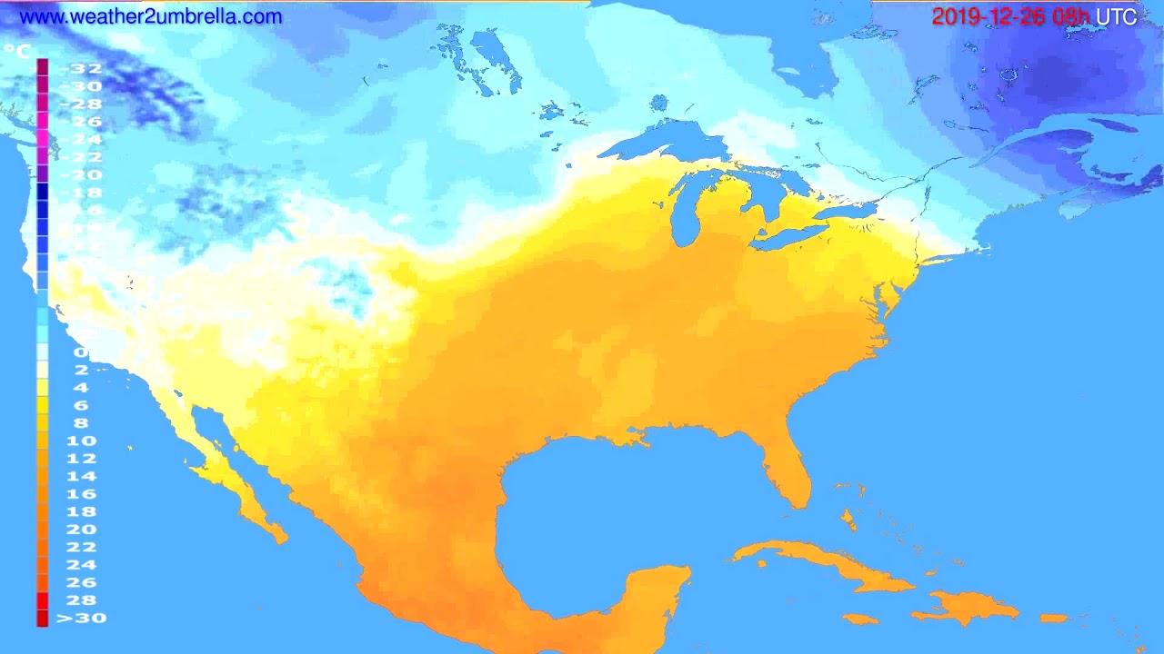 Temperature forecast USA & Canada // modelrun: 12h UTC 2019-12-25