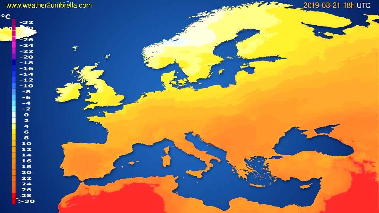 Temperature forecast Europe // modelrun: 00h UTC 2019-08-19