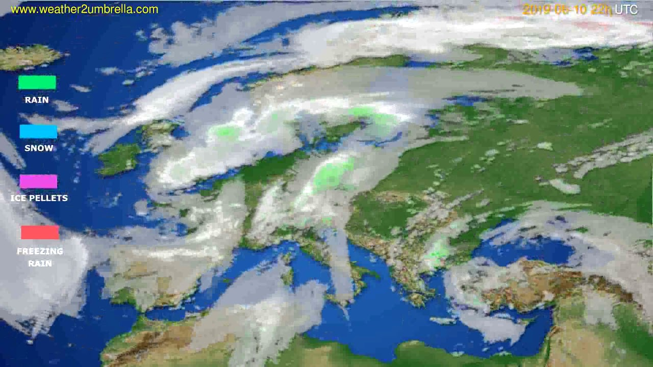 Precipitation forecast Europe // modelrun: 00h UTC 2019-06-08