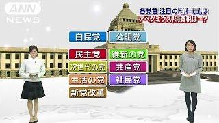各党の公約まとめ!12月2日から選挙戦 各党、注目のテーマはナニ?