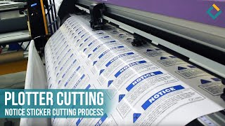 Plotter cutting: Notice sticker cutting process at Front Signs