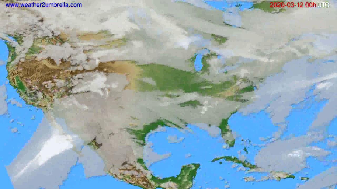 Cloud forecast USA & Canada // modelrun: 00h UTC 2020-03-11