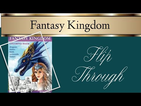 Fantasy Kingdom Greyscale Colouring Book by Alena Lazareva Flipthrough