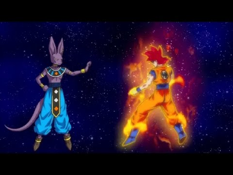 Dragonball Z Battle of Gods Goku Super Saiyan God vs Beerus