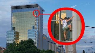 Wspiął się bez zabezpieczenia na budynek Polsatu