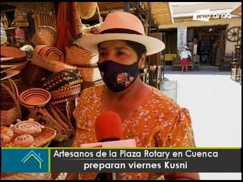 Artesanos de la plaza Rotary en Cuenca preparan Viernes Cusni