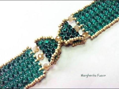 Tutorial come fare un bracciale a fiocco con perline superduo / twin braccialetto Papillon видео