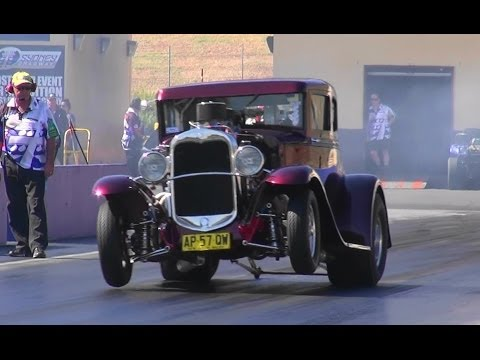 Supercharged hotrod hits the strip with times in the 8s