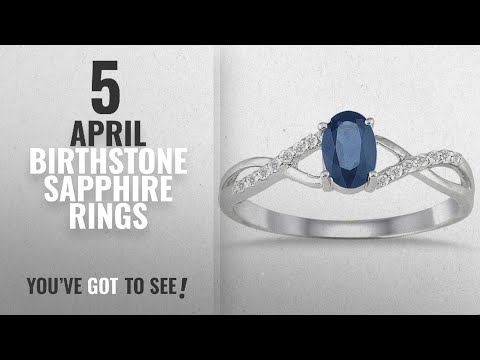 10 Best April Birthstone Sapphire Rings: Sapphire and Diamond Twist Ring in 10K White Gold