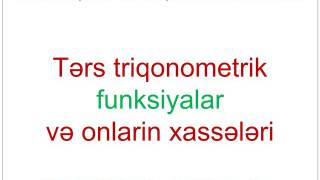 Tangens və kotangens qrafiki və tərs triqonometrik funksiya
