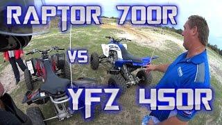7. YAMAHA ATV TEST RIDE DAY - PART 1-YFZ450R vs RAPTOR 700R
