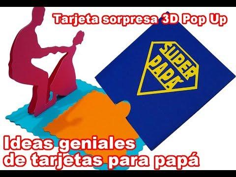 Tarjetas de amor - Tarjeta sorpresa 3D Super Papá Día del padre tarjetas Pop Up DIY