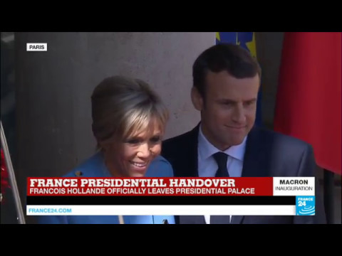 France: Emmanuel Macron enters the Elysee Palace accompanied by his wife Brigitte