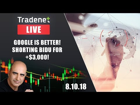 Tradenet Trading Room - Google is Better! Shorting BIDU for +$3,000!