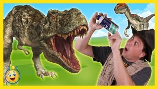 Life Size Giant T-Rex & Raptor Dinosaurs with Park Ranger Aaron in Surprise Toy Opening Kids Video