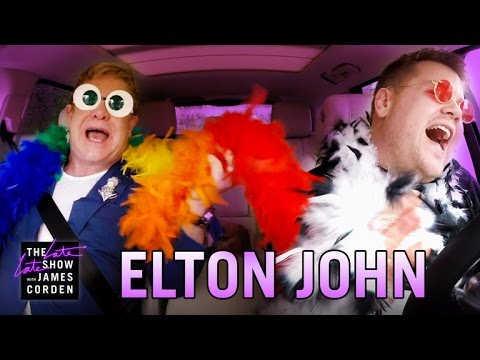 WATCH!  Elton John And James Corden Carpool!