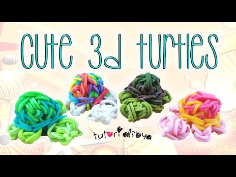 NEW 3D Turtle Rainbow Loom Charm Tutorial | How To