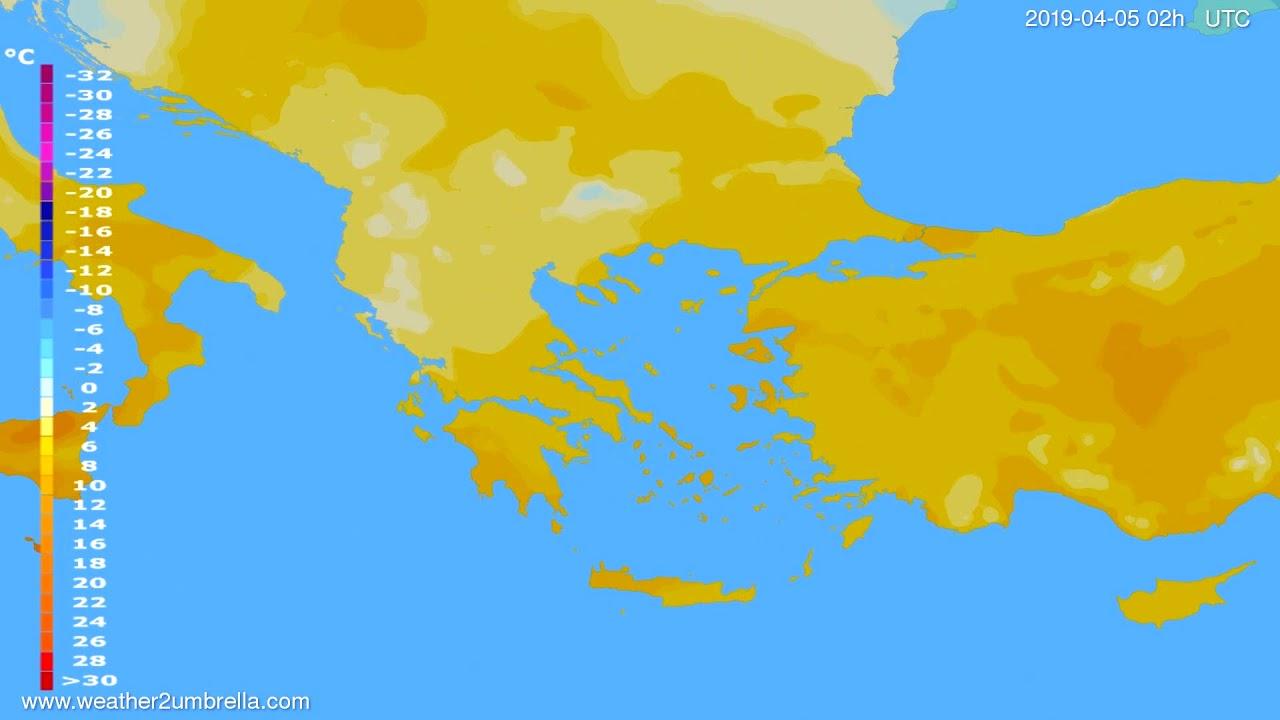 Temperature forecast Greece // modelrun: 00h UTC 2019-04-03