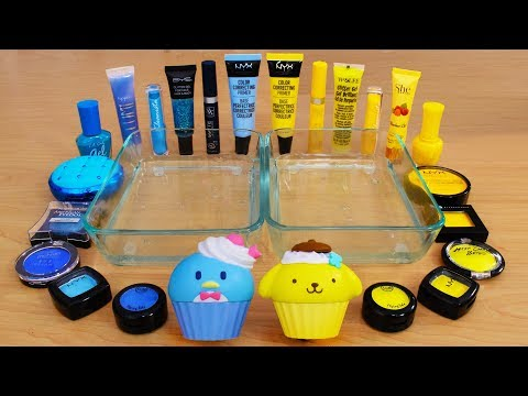Blue vs Yellow - Mixing Makeup Eyeshadow Into Slime! Special Series 120 Satisfying Slime Video