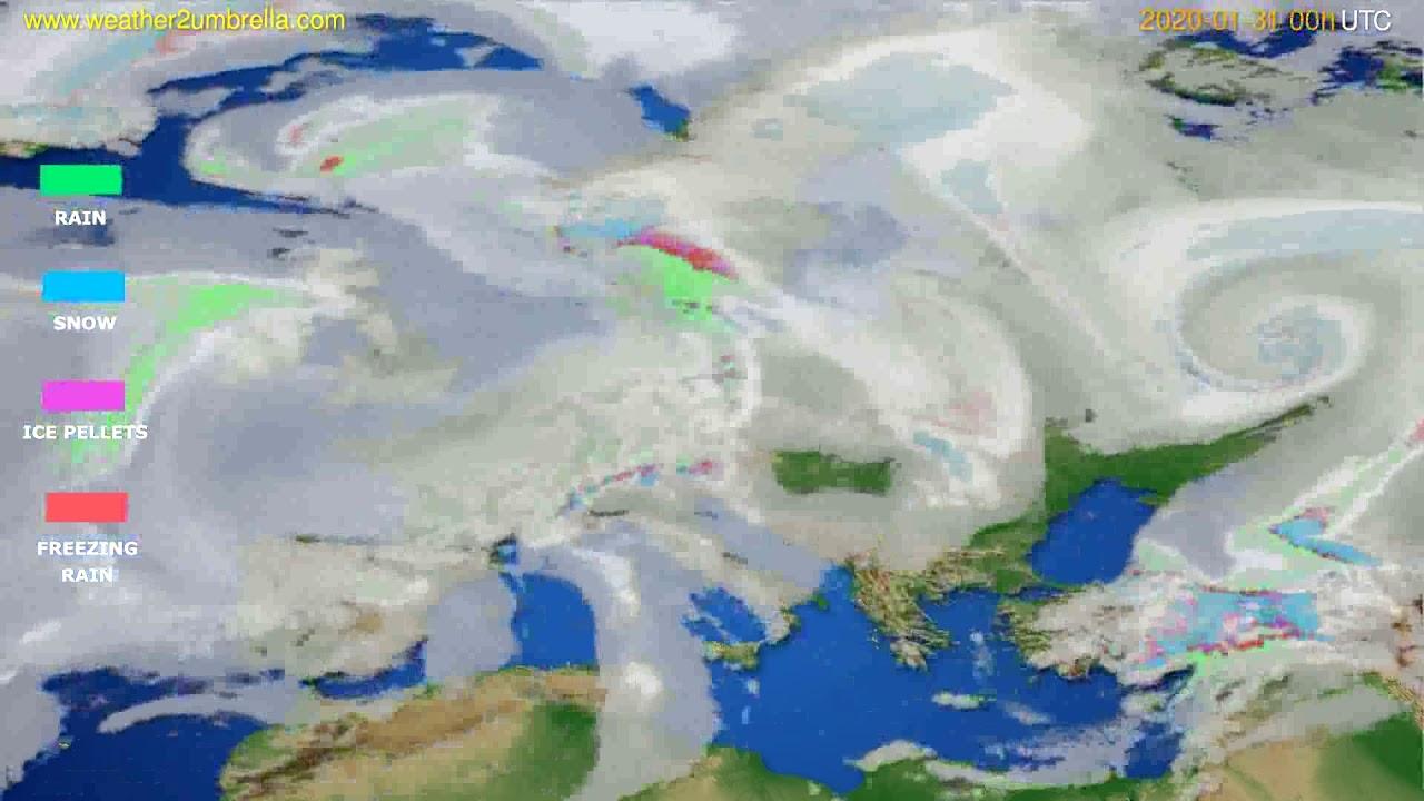 Precipitation forecast Europe // modelrun: 00h UTC 2020-01-30