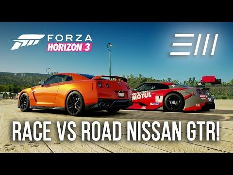 Nissan GTR RACE vs ROAD CAR!!! | Forza Horizon 3 (w/xStark3y90x) (видео)