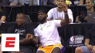 LeBron James at summer league for the Lakers game and likes what he sees [highlights] | ESPN