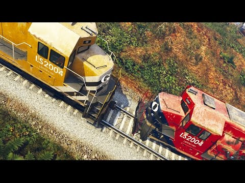 GTA 5 Mods Funny Moments - TRAIN VS TRAIN (MONSTER TRUCK)