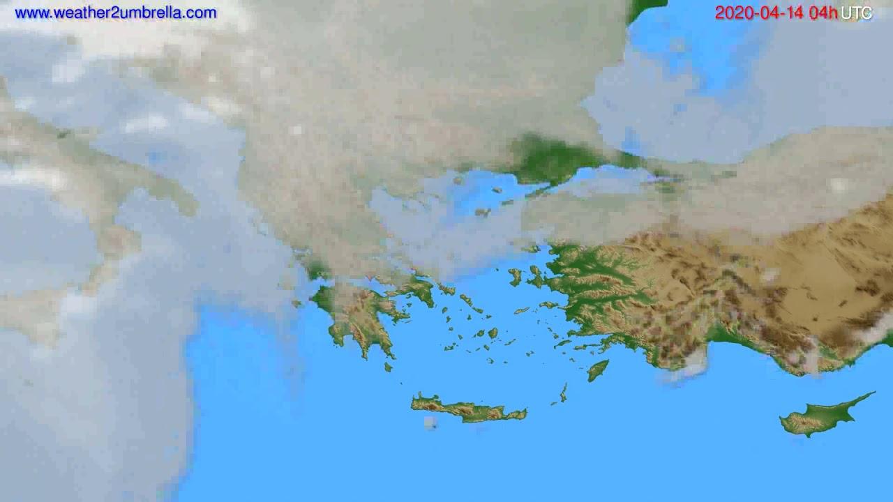 Cloud forecast Greece // modelrun: 12h UTC 2020-04-13