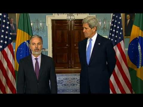 minister - U.S. Secretary of State John Kerry delivers remarks with Foreign Minister of Brazil Antonio de Aguiar Patriota at the U.S. Department of State in Washington,...