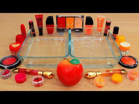 Red Vs Orange - Mixing Makeup Eyeshadow Into Slime! Special Series 110 Satisfying Slime Video