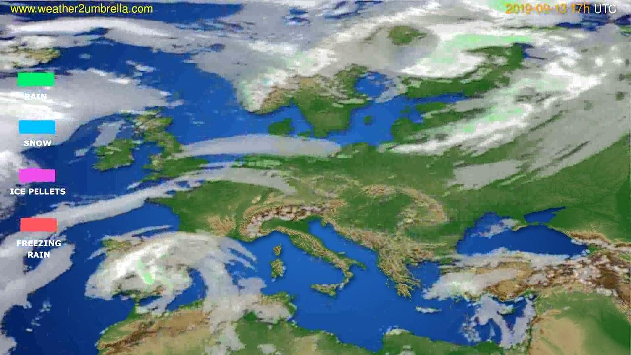 Precipitation forecast Europe // modelrun: 00h UTC 2019-09-12