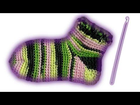 Socken häkeln lernen nur 1 Nadel für Linkshänder
