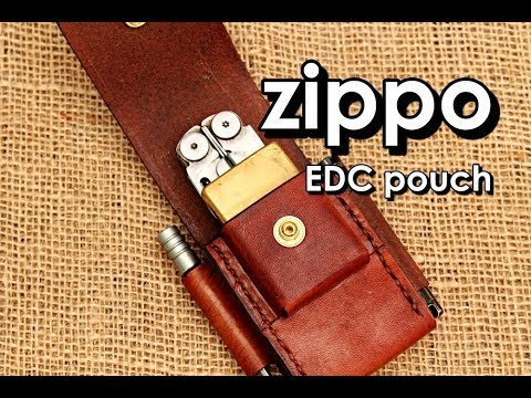 Making a  EDC pouch  leatherman wave  fire steel torch and Zippo