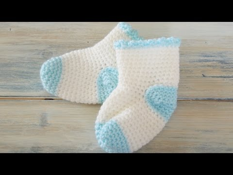 (Crochet) How To - Crochet Newborn Baby Sock Booties