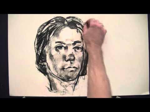 Portrait, Kohle auf Papier. Drawing face.wmv