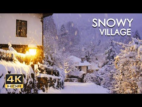 4K HDR Snowy Village - Peaceful Snowing at Dusk - Winter in Bulgaria - Relaxing Snowfall Video