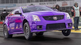 Purple CTS-V Goes Wheels UP! @ TX2K19 by 1320Video