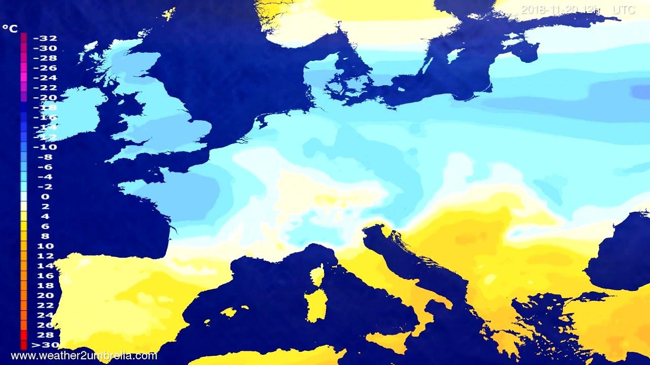 Temperature forecast Europe 2018-11-18