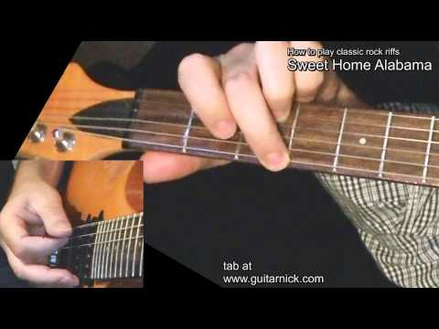 Sweet Home Alabama [WITH TAB] Guitar lesson! learn to play classic rock metal riffs