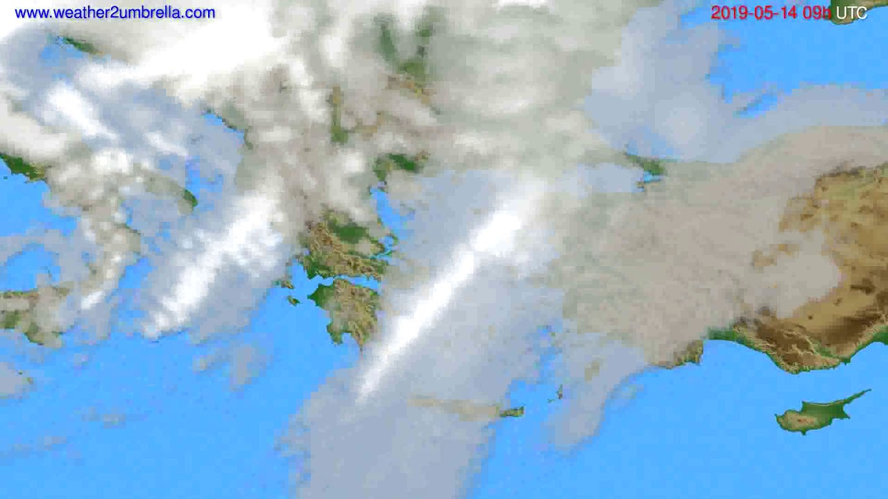 Cloud forecast Greece // modelrun: 12h UTC 2019-05-12