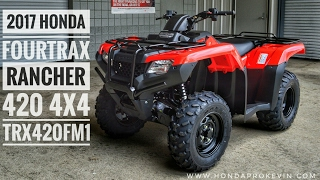 10. 2017 Honda Rancher 420 4x4 ATV (TRX420FM1H) Walk-Around Video | Red | Review @ HondaProKevin.com