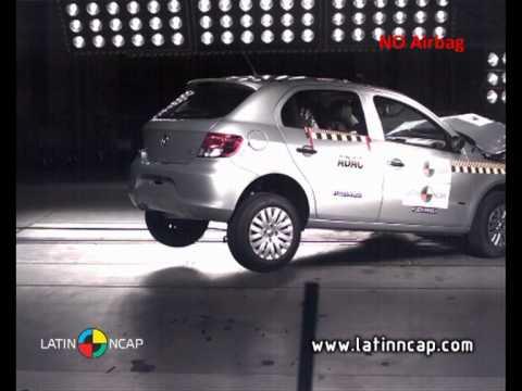 Crash test com o Volkswagen Gol Trend 1.6 – sem airbag