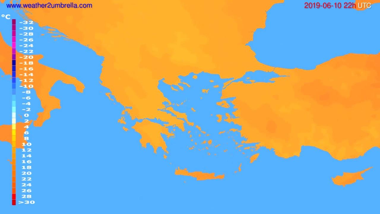 Temperature forecast Greece // modelrun: 00h UTC 2019-06-08