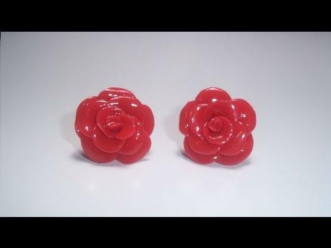 fimo - bellissimi orecchini a forma di rosa