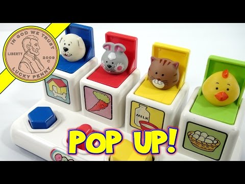 Pop Up Pets – Dog, Bunny, Cat and Chick, 1984 Shelcore Toys