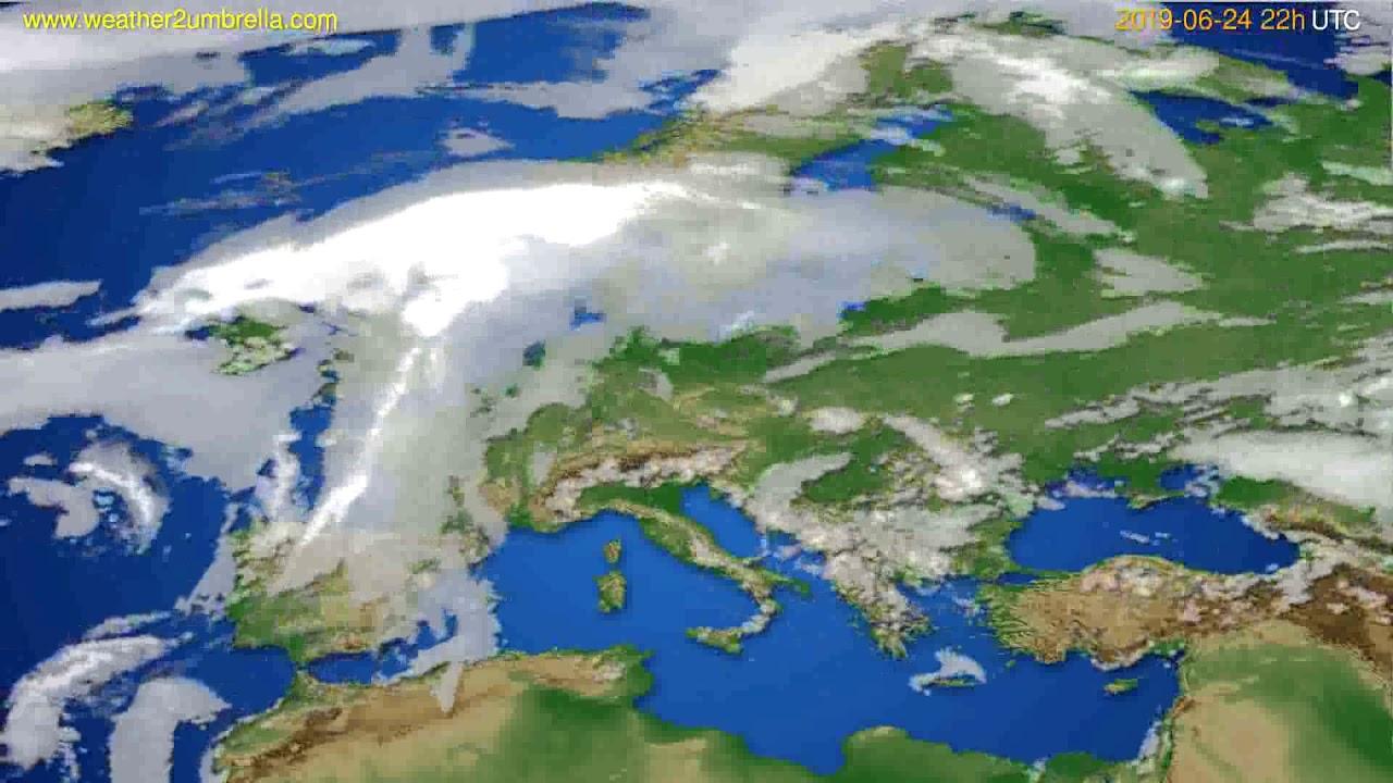 Cloud forecast Europe // modelrun: 12h UTC 2019-06-22