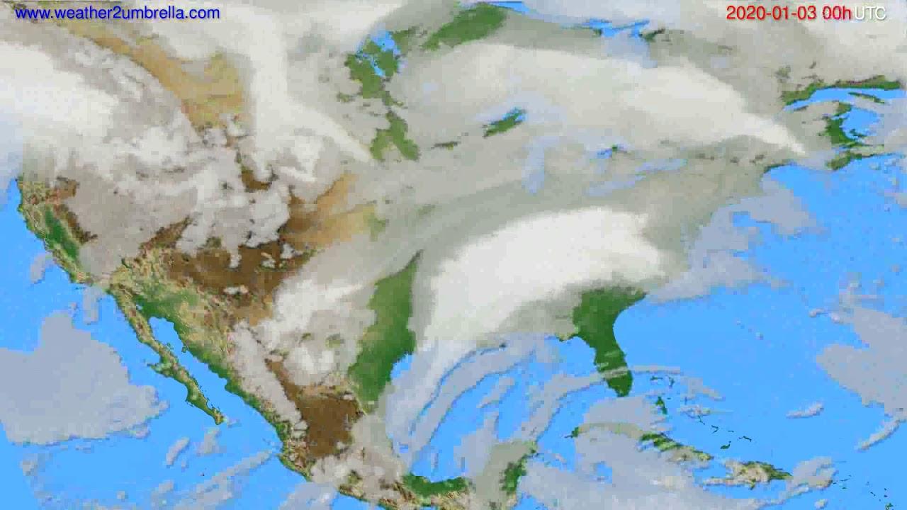 Cloud forecast USA & Canada // modelrun: 00h UTC 2020-01-02