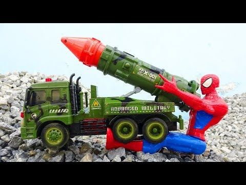 Spiderman, rocket car, hulk, dump truck - Toys for kids G285M