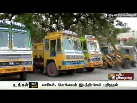 Tipper-lorries-and-Poclain-equipment-used-for-illegal-sand-mining-seized-in-Gudiyatham
