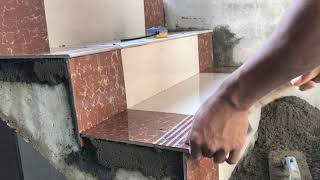 Construction Concrete Stair Floor Tile Installation Process